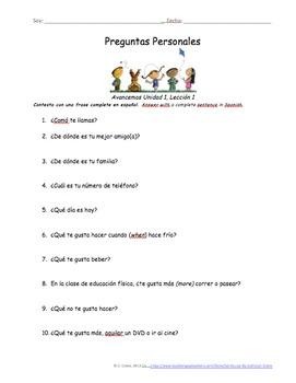 Preguntas Personales Spanish Basic Question Worksheets - Avancemos Unidad 7