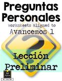 Preguntas Personales Spanish Basic Questions - Avancemos 1
