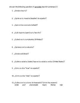 Preguntas? Spanish Questions