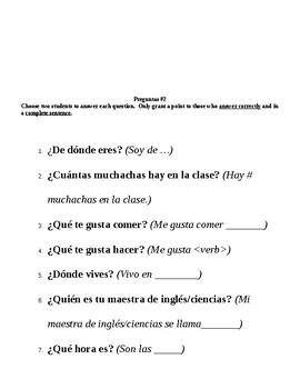 Preguntas! Speaking activity that allows students to practice speaking spanish.