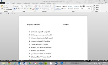 Preguntas de Familia (Questions about the Family)