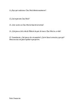 Preguntas de comprensión Chac Mool