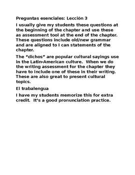 Preguntas esenciales: Lección 3