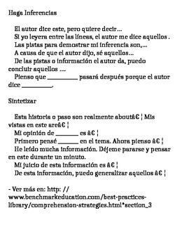 Preguntas para lectura en español. 4th. Grade