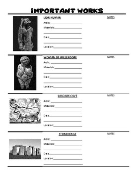 Prehistoric Art Student Handout - Art History