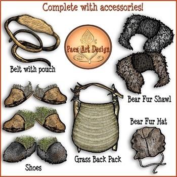 Prehistoric Clothing CLIPART {Paez Art Design}