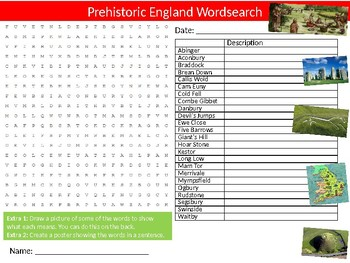 Prehistoric England Wordsearch Sheet Starter Activity Keywords British History