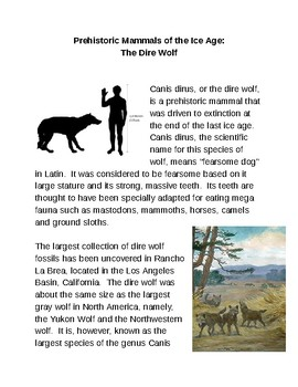 Prehistoric Mammals:  The Dire Wolf