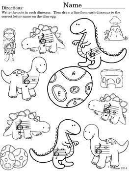 Prehistoric Note Reading Fun - Treble Clef