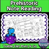 Music Worksheets: Treble Clef {Prehistoric Note Reading Fun}