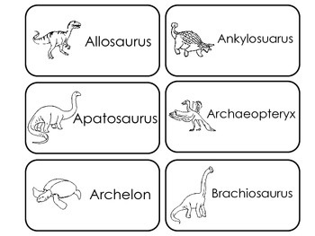 Prehistoric Picture Word Flash Cards. Preschool flash cards for children.