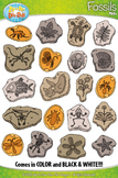 Prehistoric Plant and Animal Fossils Clipart {Zip-A-Dee-Doo-Dah Designs}