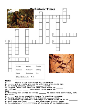 Prehistoric Times Crossword or Web Quest