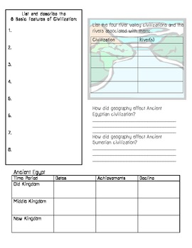 Prehistory & Early Civilization Skills Packet