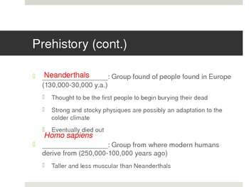 Prehistory PowerPoint (Lecture Notes)