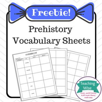 Prehistory Vocabulary Sheets