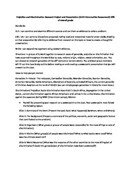Prejudice and Discrimination Psychology Project (common core rubric included)