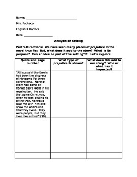 Prejudice as an element of Setting- To Kill A Mockingbird (Worksheet)