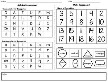 Prek Assessment - Spanish