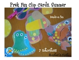 Prek Clip cards. Summer edition. Fine Motor Skills Practice