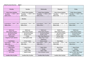 Prek Daily Cleaning Schedule