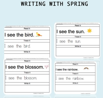 Guided Writing  Spring Activity - Read It- Trace It - Write It