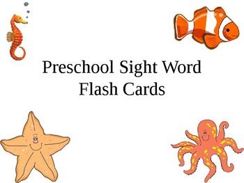 Prek sight word flash cards