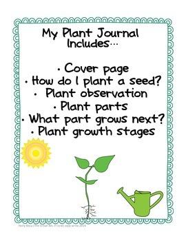 Prek/K Seed Journal & Plant Journal