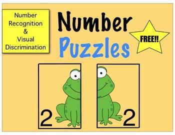 Prek/Kinder Number Puzzles(FREE)