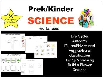 Prek/Kinder Science Cut and Paste Activity Pack