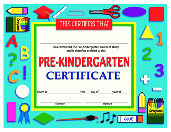 Prekindergarten Certificate of Achievement Printable