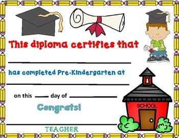 prekindergarten diploma editable pre k diploma by bilingual teacher