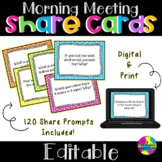 Editable Morning Meeting Share Cards   Discussion Cards   Digital & Printable