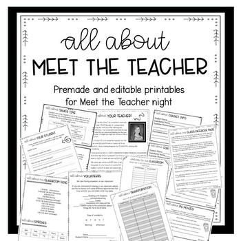 Premade and Editable Printables for Meet the Teacher Night