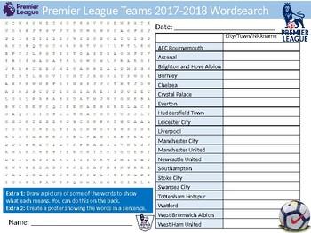 Premier League Teams 2017-2018 Wordsearch Puzzle Sheet Keywords Football Sports
