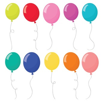 Premium Bright Party Balloons Clipart & Vectors Set - Digital Scraps, Crafting