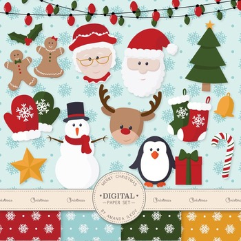 Premium Christmas Characters Clip Art & Digital Papers Set - Christmas Clipart