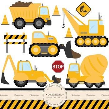 Premium Construction Clipart for Digital Scrapbooks, Crafting, Invitations, Web