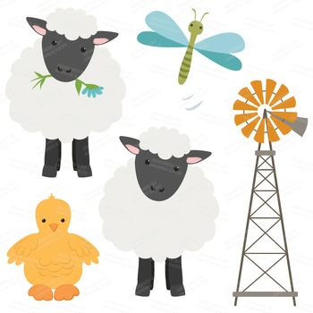 Premium Farm Animals Clip Art & Vectors - Farm Animals Clipart, Barn Yard