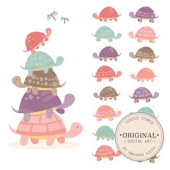 Premium Girls Turtle Tower Clip Art & Vectors - Turtle Stack, Cute Turtles