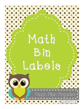 Premium Math Manipulative Label Bins