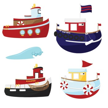 Premium Nautical Tugboat Clipart - Digital Scrapbooks, Tug Boats Clip Art