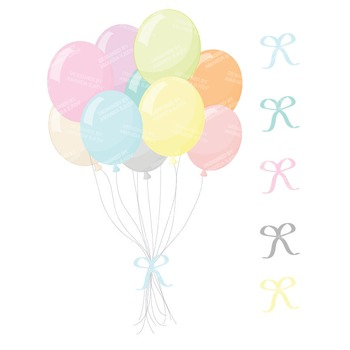 Premium Pastel Party Balloons Clipart & Vectors for Crafting, Invitations & More