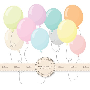 Premium Pastel Party Balloons Clipart & Vectors for Crafti