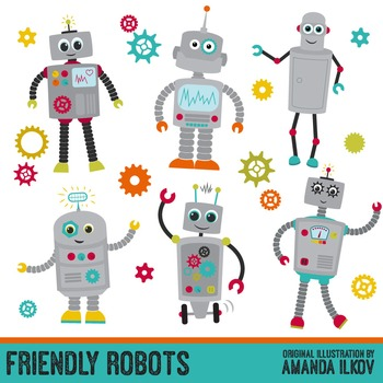 Premium Robots & Gears Clip Art with Vectors - Friendly Robot Clipart, Gears
