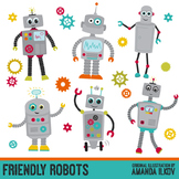 Premium Robots & Gears Clip Art with Vectors - Friendly Ro