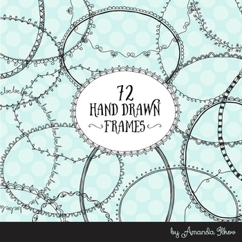 Premium Set of 72 Digital Black Lace Frames, Round Doodle Frames