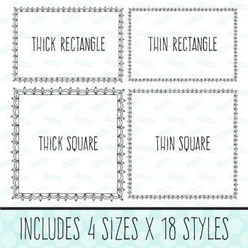 Premium Set of 72 Digital Black Lace Frames, Scrapbook Frames, Doodle Frames