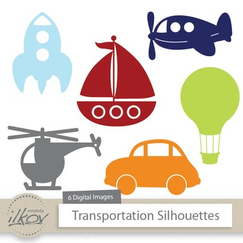 Premium Transportation Clipart - Airplane, Boat, Helicopter, Rocket, Balloon