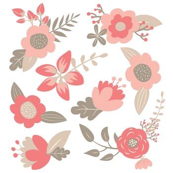 Premium Vintage Floral Clipart & Flower Vectors - Coral Flowers, Flower Clip Art